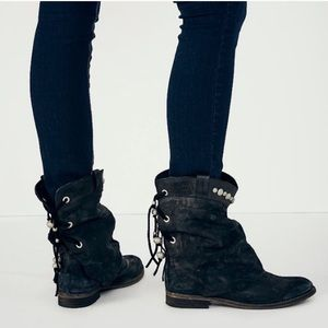 Free People Wayland Black Boots Leather Lace Up